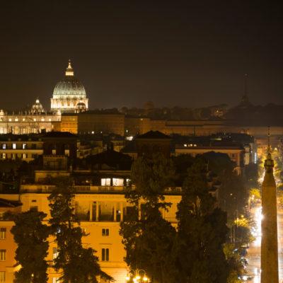 Panorama serale dalla terrazza del Pincio a Villa Borghese
